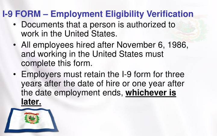 I-9 FORM – Employment Eligibility Verification