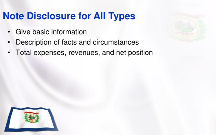 Note Disclosure for All Types