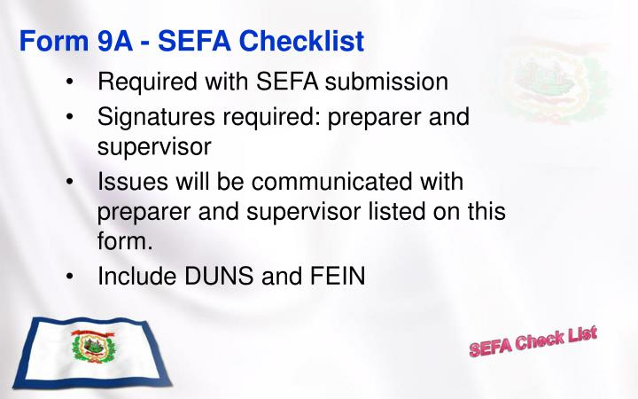 Form 9A - SEFA