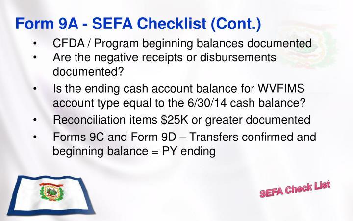 Form 9A - SEFA Checklist (Cont.)
