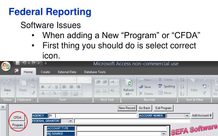 Federal Reporting