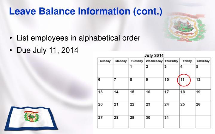 Leave Balance Information (cont.)