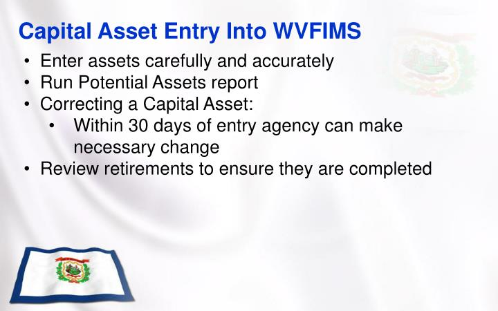 Capital Asset Entry Into WVFIMS