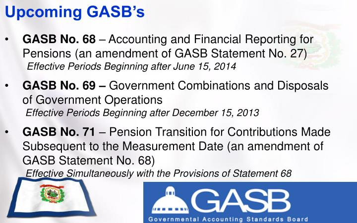 Upcoming GASB's