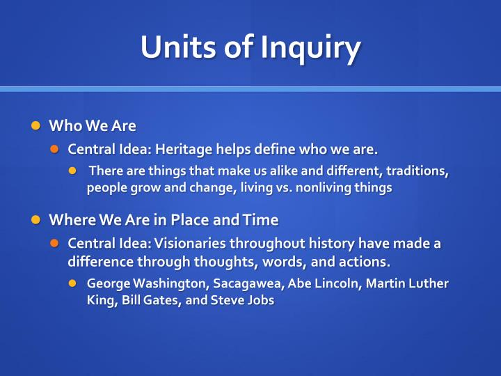 Units of Inquiry