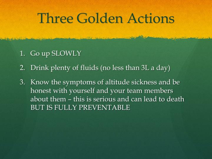 Three Golden Actions