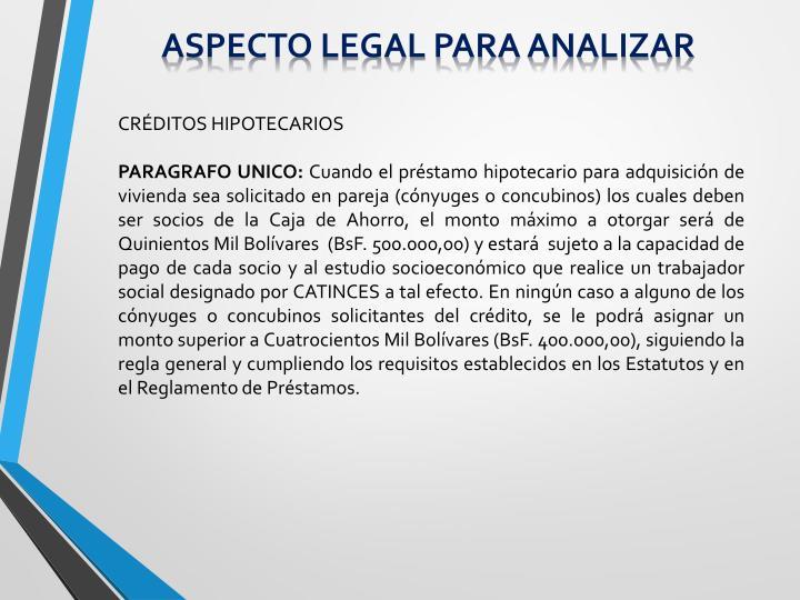 Aspecto legal para analizar
