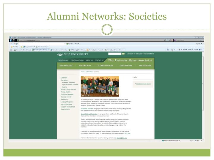 Alumni Networks: Societies