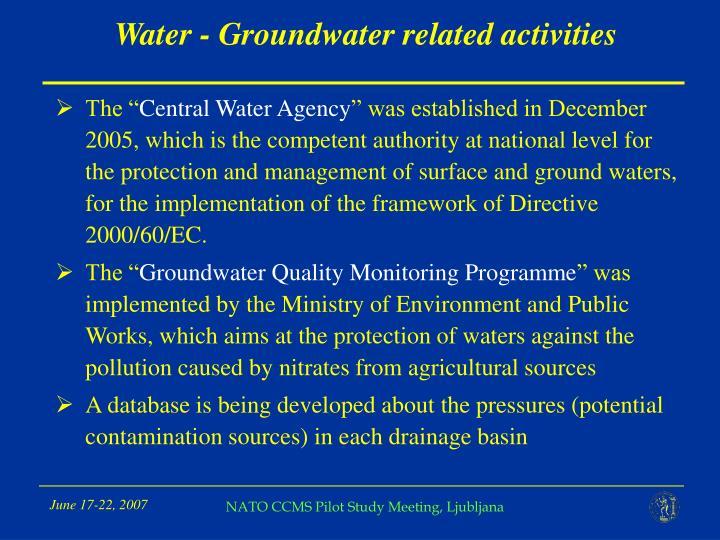 Water - Groundwater related activities