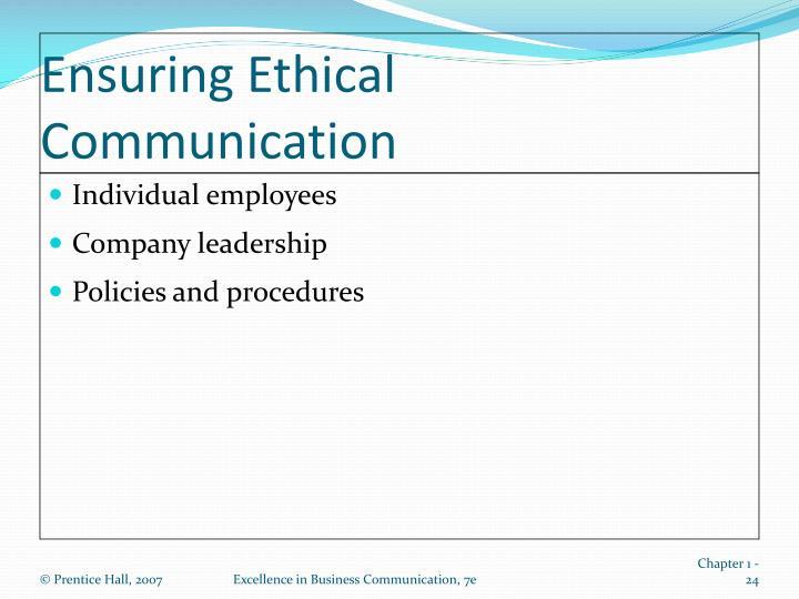 Ensuring Ethical Communication