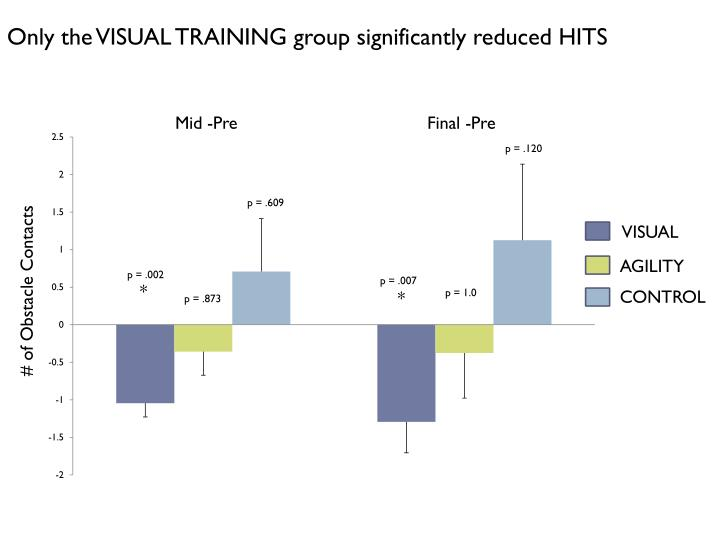 Only the VISUAL TRAINING group significantly reduced HITS