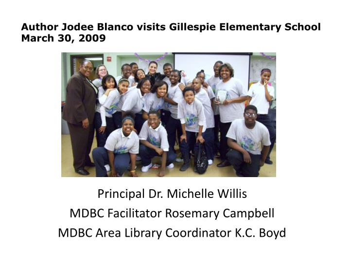 author jodee blanco visits gillespie elementary school march 30 2009