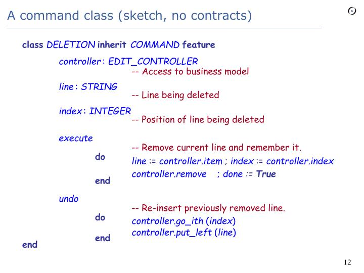 A command class (sketch, no contracts)