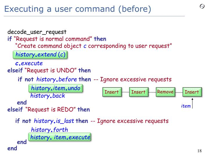 Executing a user command (before)