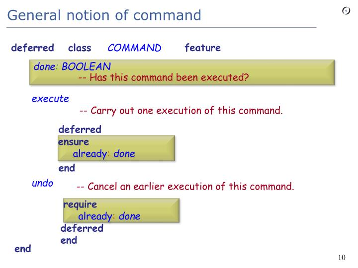 General notion of command