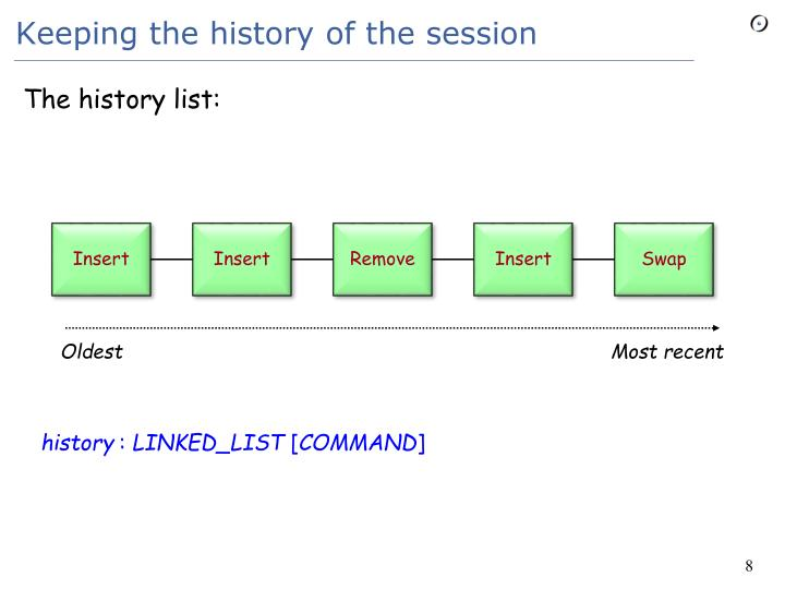 Keeping the history of the session