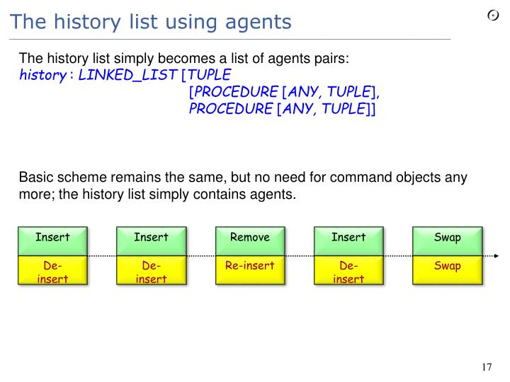 The history list using agents