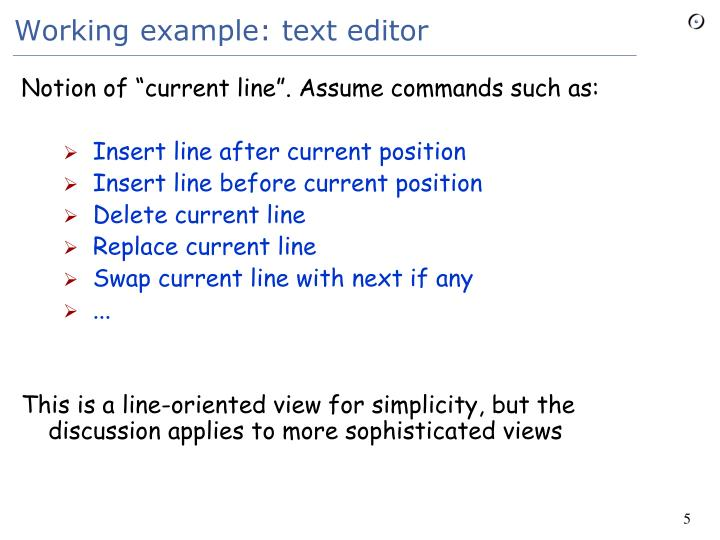 Working example: text editor