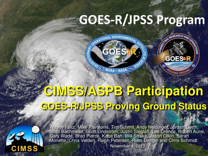 Cimss aspb participation goes r jpss proving ground status