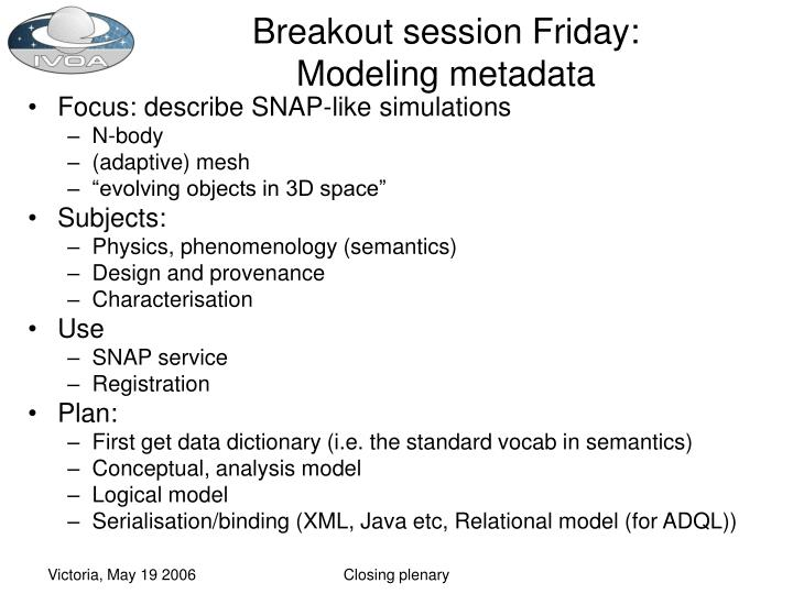 Breakout session Friday: