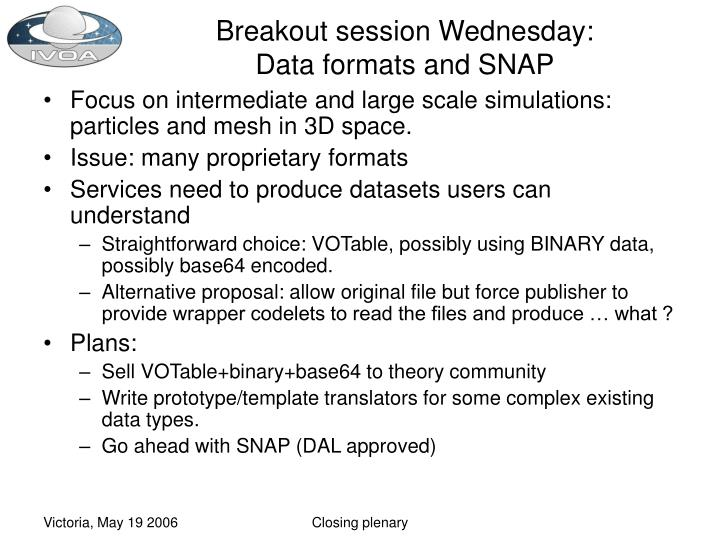 Breakout session Wednesday: