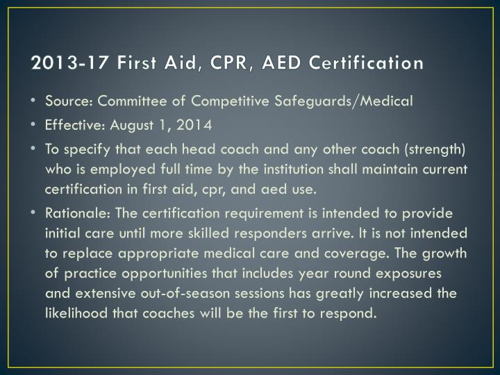 2013-17 First Aid, CPR, AED Certification
