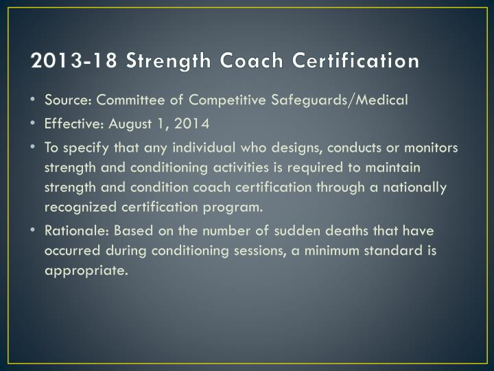 2013-18 Strength Coach Certification