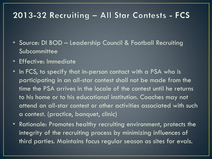 2013-32 Recruiting – All Star Contests - FCS