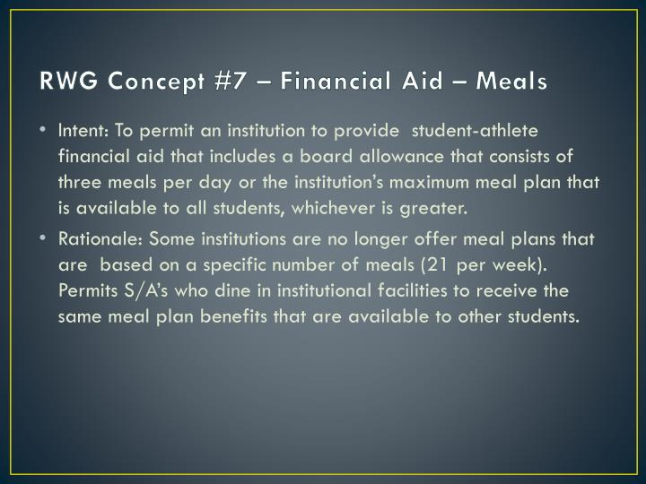 RWG Concept #7 – Financial Aid – Meals