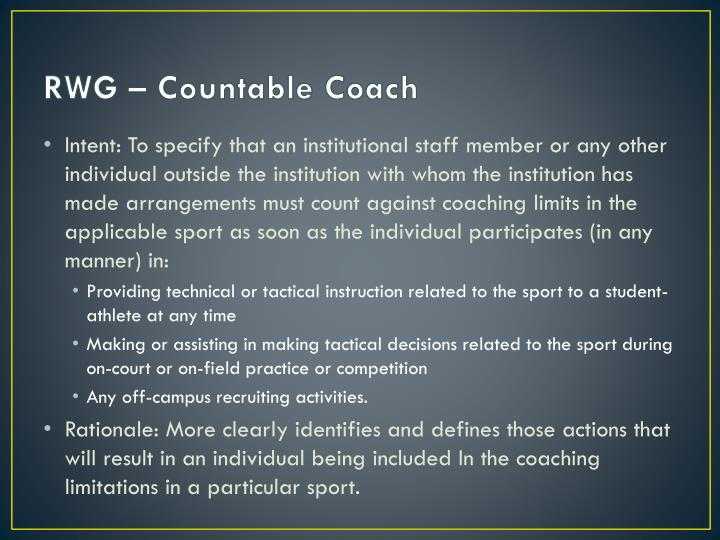 RWG – Countable Coach
