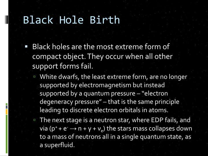Black Hole Birth