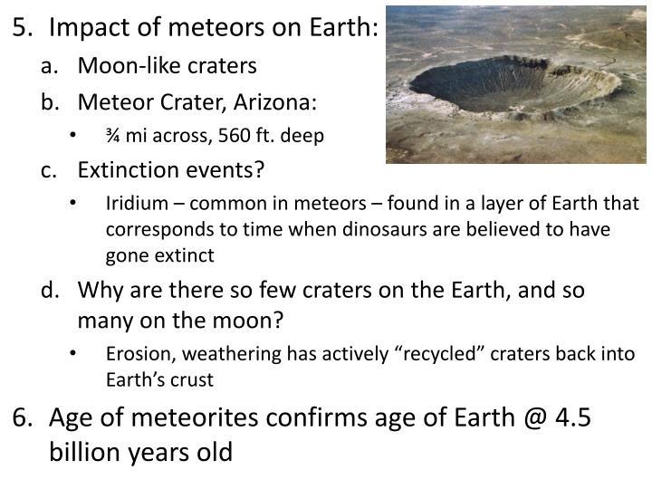 Impact of meteors on Earth: