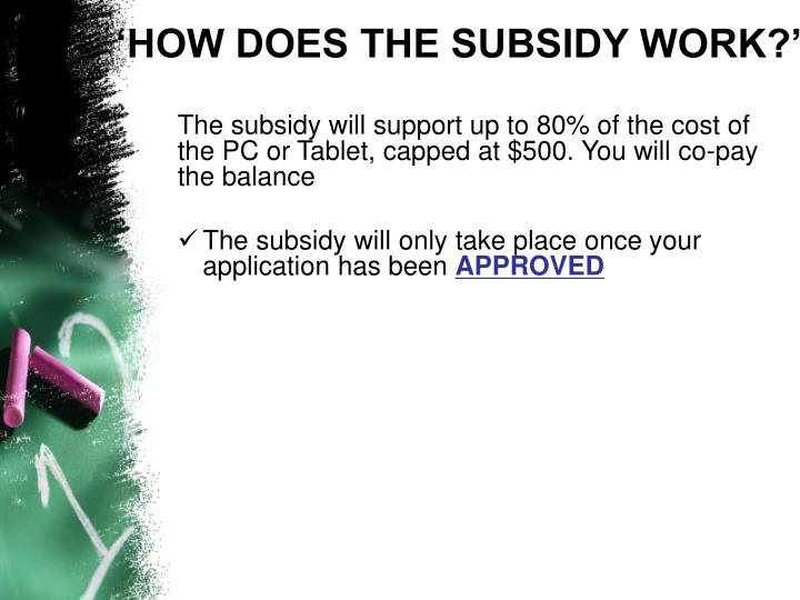 'HOW DOES THE SUBSIDY WORK?'