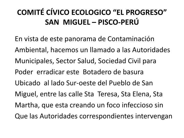 """COMITÉ CÍVICO ECOLOGICO """"EL PROGRESO"""""""