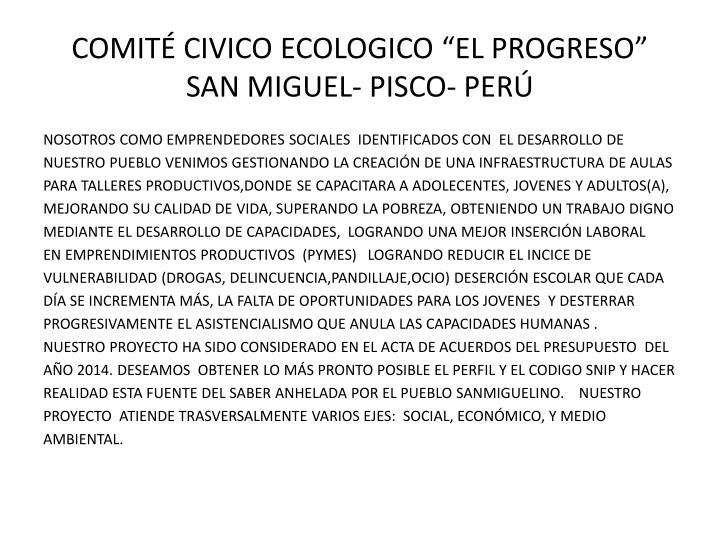 "COMITÉ CIVICO ECOLOGICO ""EL PROGRESO"""