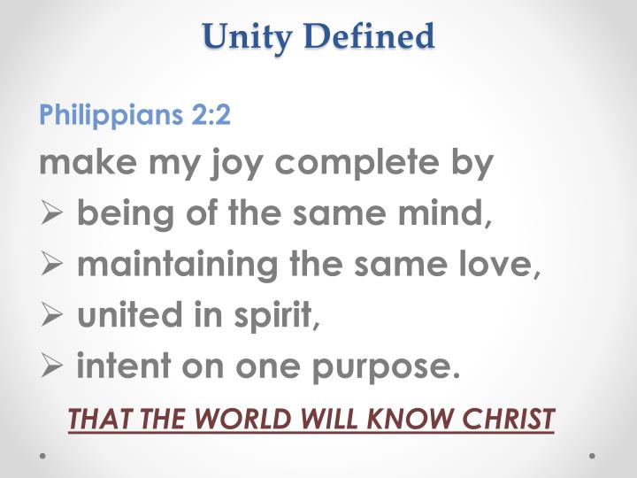 Unity Defined