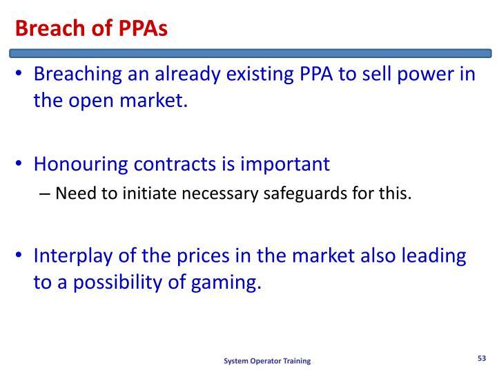 Breach of PPAs