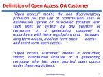 definition of open access oa customer