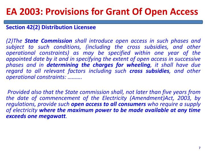 EA 2003: Provisions for Grant Of Open Access