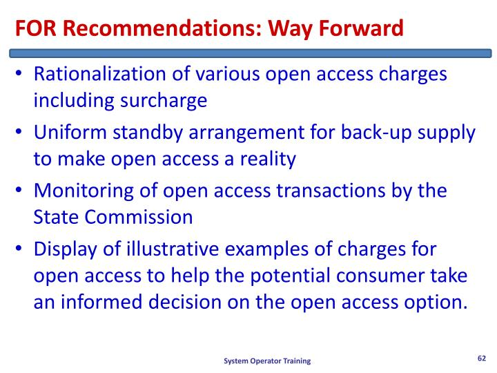 FOR Recommendations: Way Forward