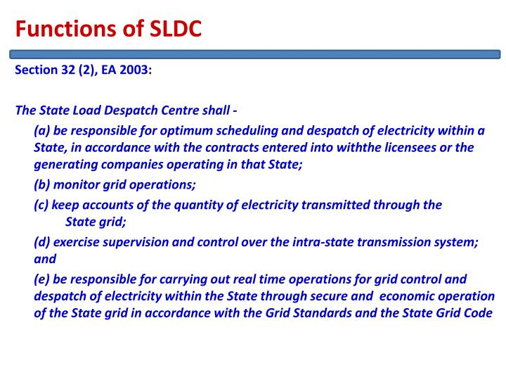 Functions of SLDC