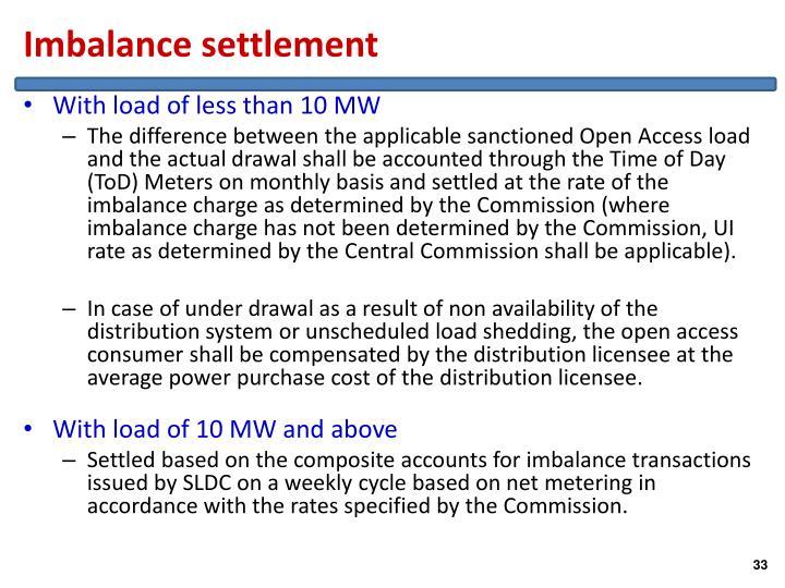 Imbalance settlement