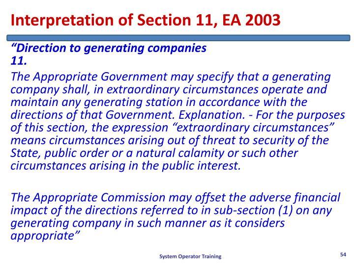 Interpretation of Section 11, EA 2003