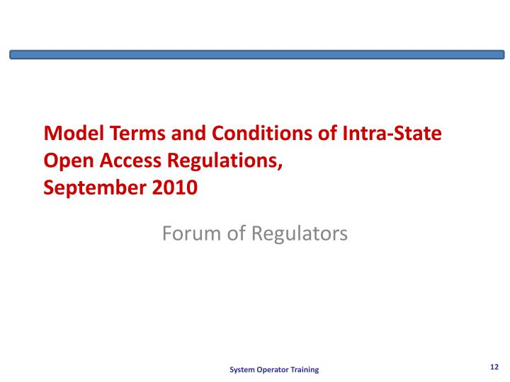 Model Terms and Conditions of Intra-State Open Access