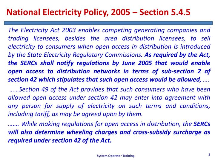 National Electricity Policy, 2005 – Section 5.4.5