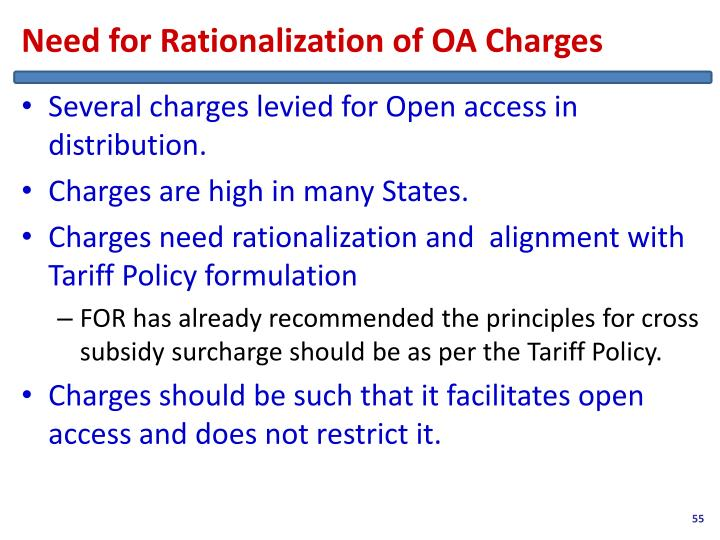 Need for Rationalization of OA Charges
