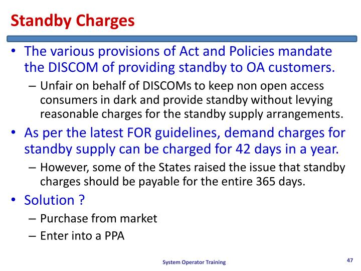 Standby Charges