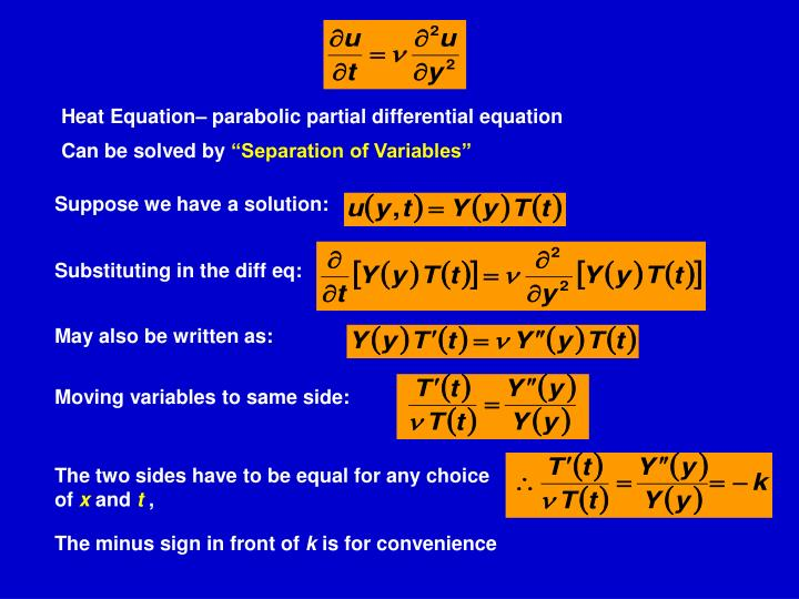 Heat Equation– parabolic partial differential equation