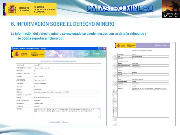 6. INFORMACIÓN SOBRE EL DERECHO MINERO