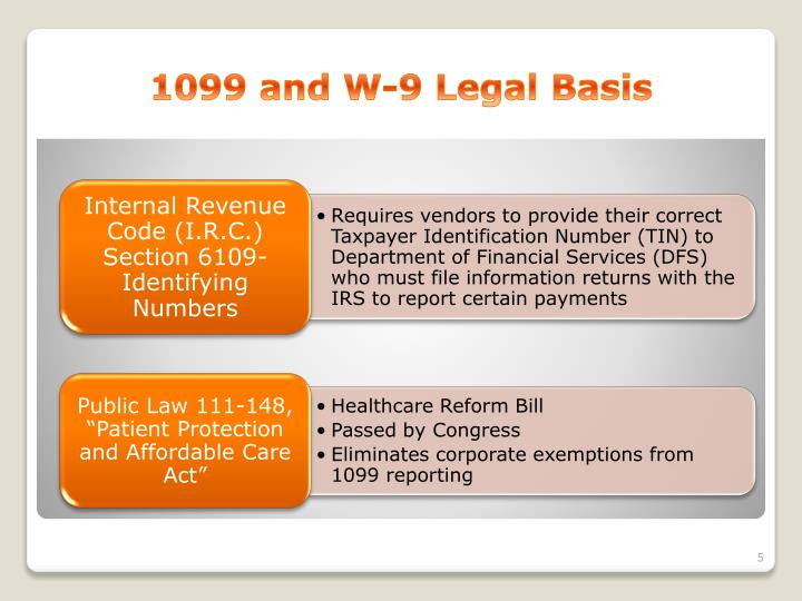 1099 and W-9 Legal Basis